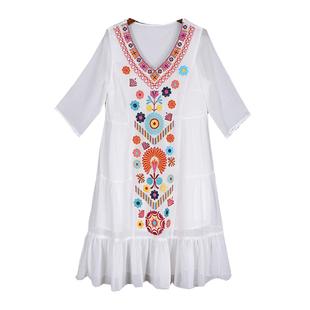 三亞沙灘裙女海邊度小個子連衣裙泰國雲南民族風海南旅遊衣服女裝
