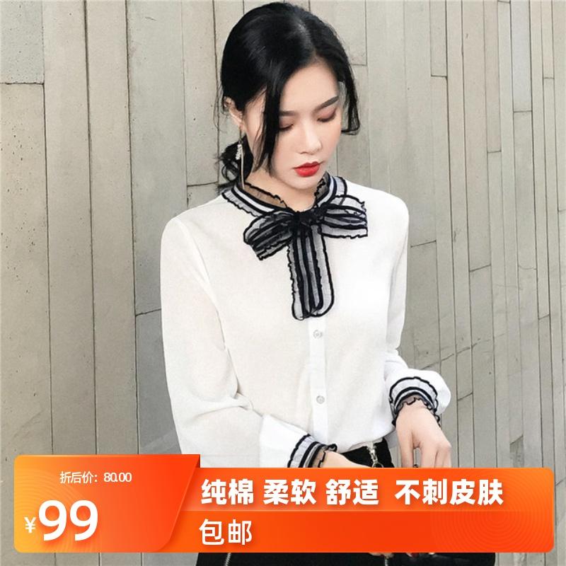 女装白衬衫女雪纺蝴蝶结女士精品黑色裙好搭亲肤韩版潮设计感衬衫