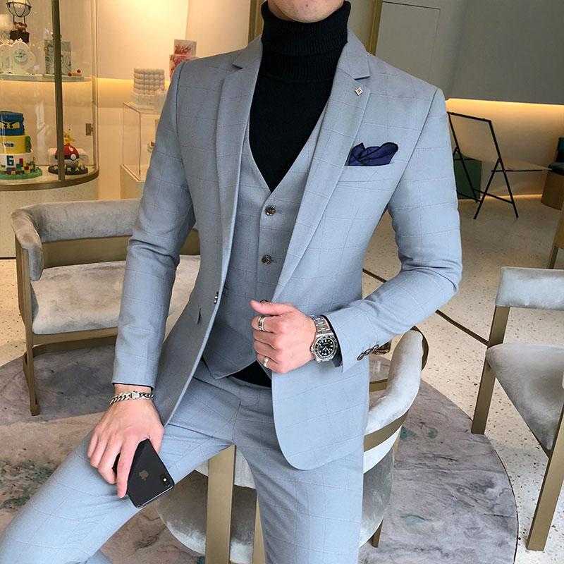 西服套装男士修身三件套职业商务正装西装伴郎服装新郎结婚礼服冬
