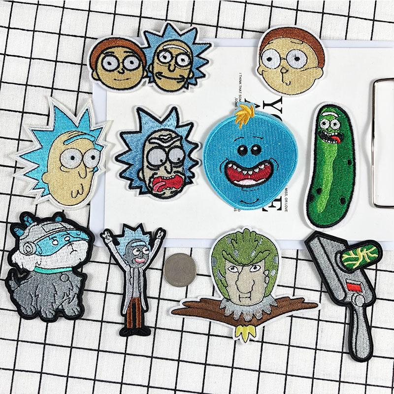 卡通人物刺绣布贴 美国动漫Rick and Morty儿童衣服书包破洞补丁