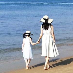 草帽女沙滩大帽檐女童遮阳防晒百搭海边度假儿童亲子帽子母女大沿
