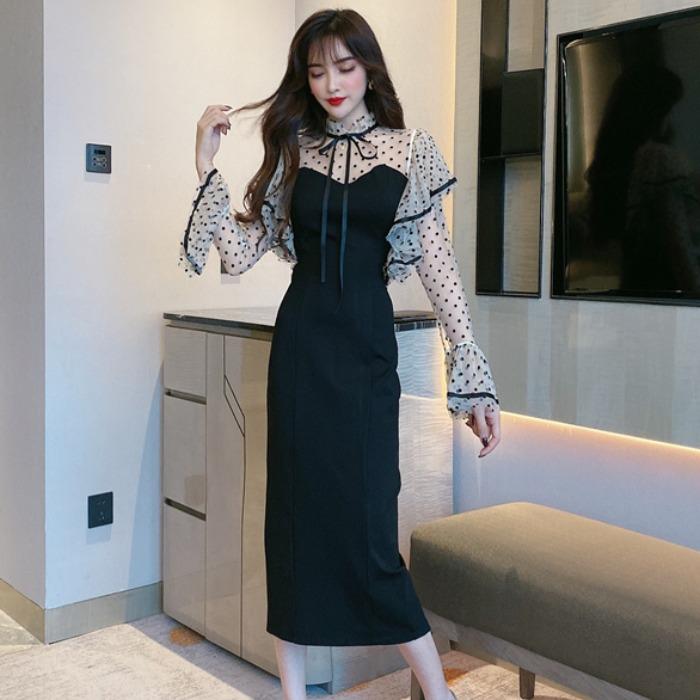 秋季装新款2020时尚气质网纱拼接波点长袖高腰包臀修身连衣裙女装