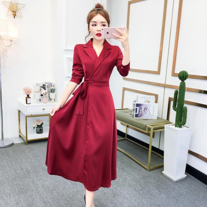 法式复古裙子2020秋冬季装新款韩版气质收腰显瘦长袖连衣裙女装潮