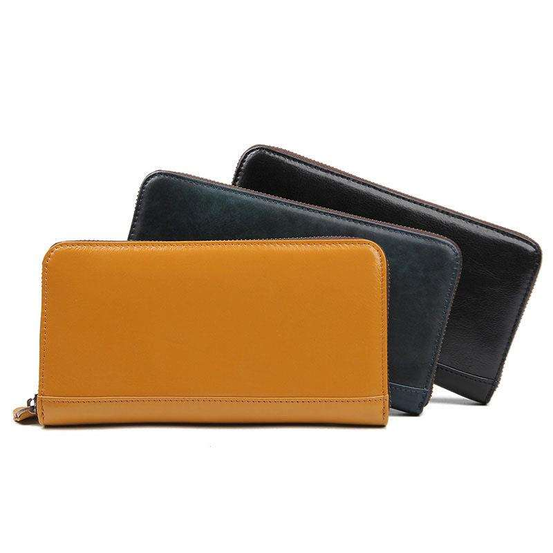 Yellow purse attracts finance ministers waxy pickup bag male wallet Long Leather Multi card zero wallet card bag
