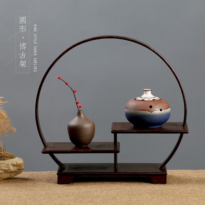 鸡翅木多宝阁客厅茶叶实木古董架子