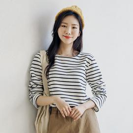 韩版宽松黑白条纹t恤女长袖圆领百搭上衣2020春秋新款内搭打底衫