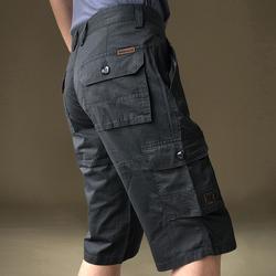 夏季薄款短裤男宽松大码休闲裤纯棉裤子直筒多口袋工装裤七分裤潮