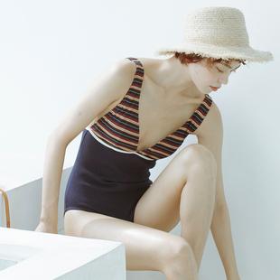雨后-W小调bikini连体针织条纹性感露背大胸小胸遮肚显瘦游泳衣女