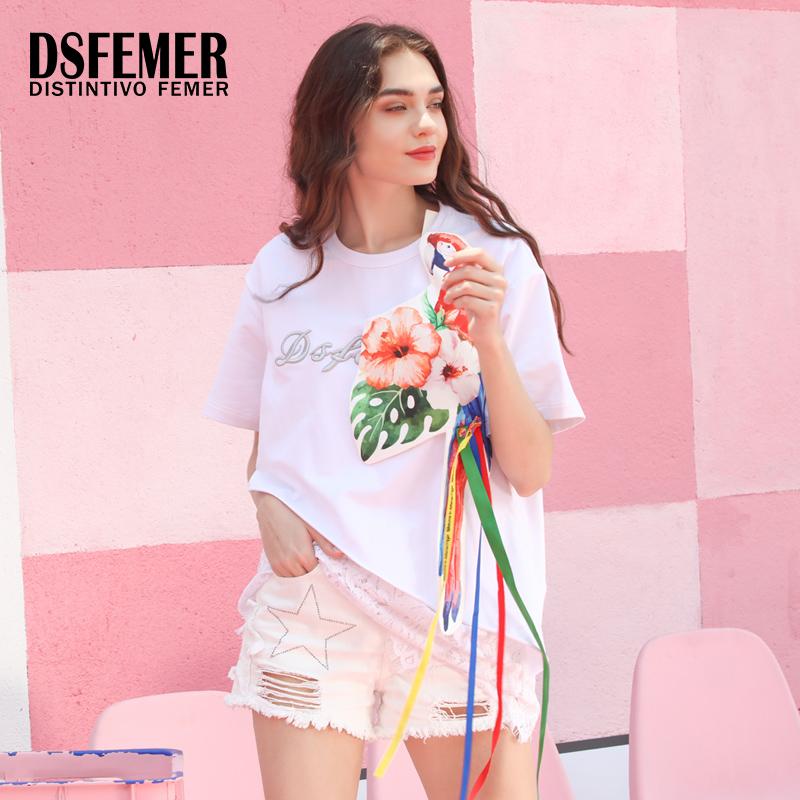 蒂斯弗夏季新款时尚女人个性图案纯色拼接蕾丝T恤女