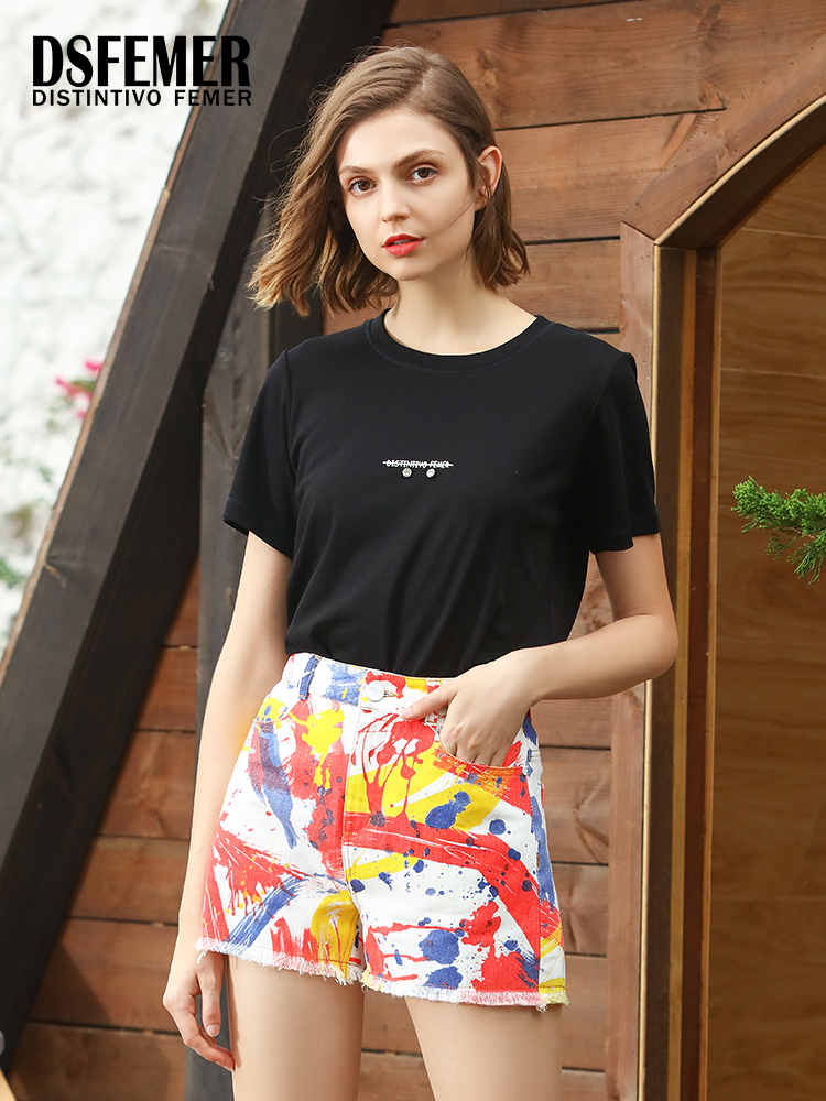 Tisfer malls same fashion brand summer new half sleeve breathable simple and versatile solid color personalized letter top T-shirt