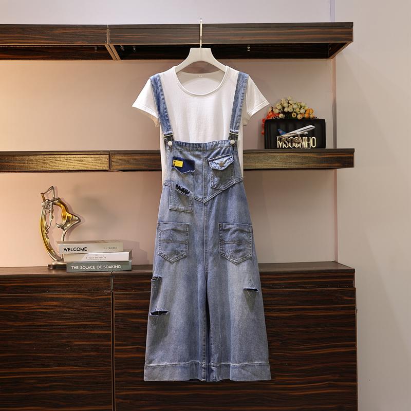 满298.00元可用160元优惠券大码女装新款适合遮肚显瘦背带裤