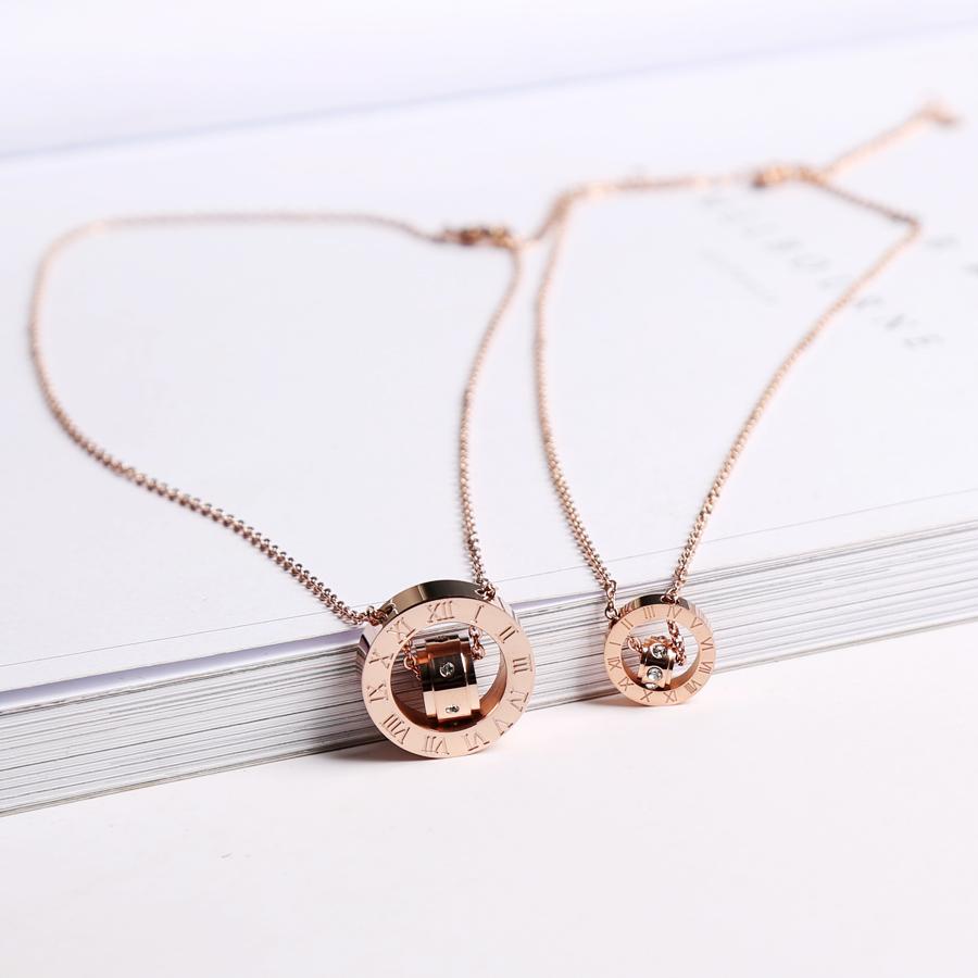 韩版个性潮人情侣玫瑰金项链男女时尚短锁骨琏气质吊坠配饰品礼物