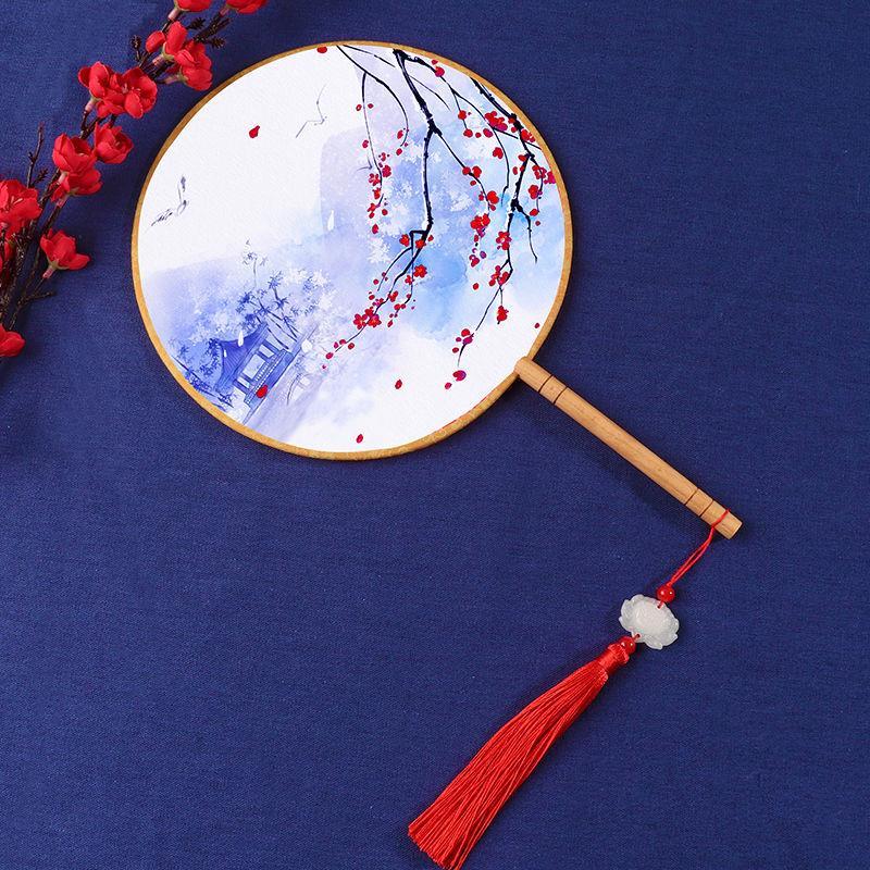 2把减价复古风团扇古典宫扇圆扇子中国风女扇子汉服cos舞蹈扇演出
