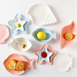 日式海洋碗盘碟餐具套装儿童寿司鱼盘菜盘子创意水果早餐盘酱料碟图片