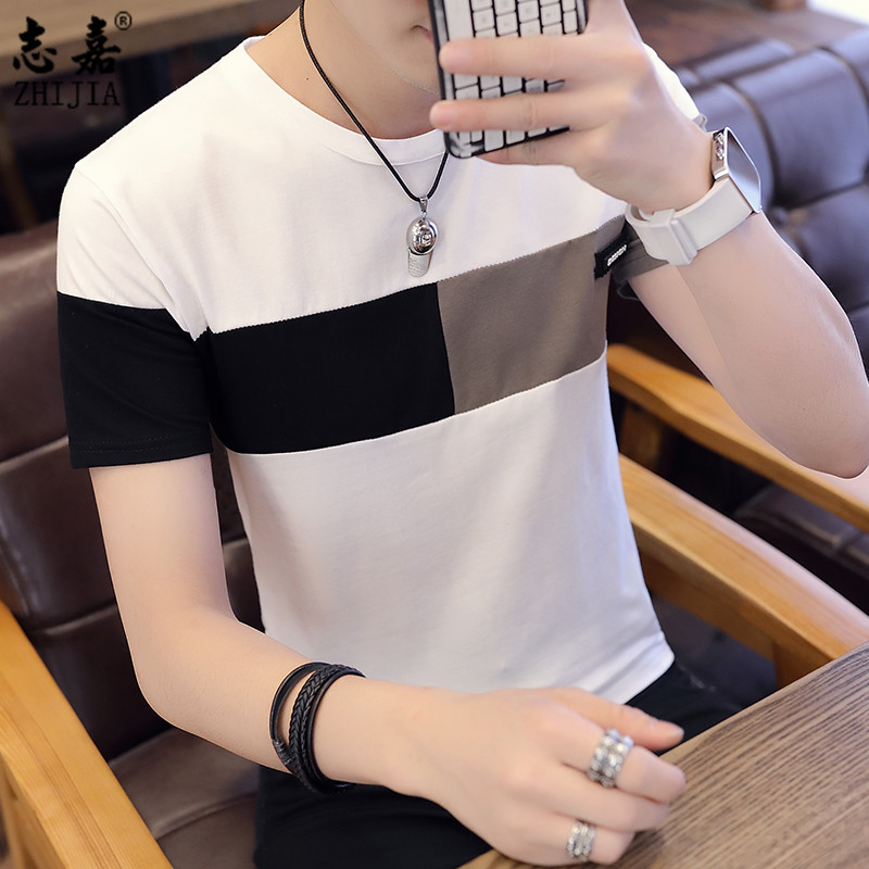 Zhijia mens short sleeve T-shirt 2019 summer new round neck bottoming shirt casual mens Korean slim fit top trend