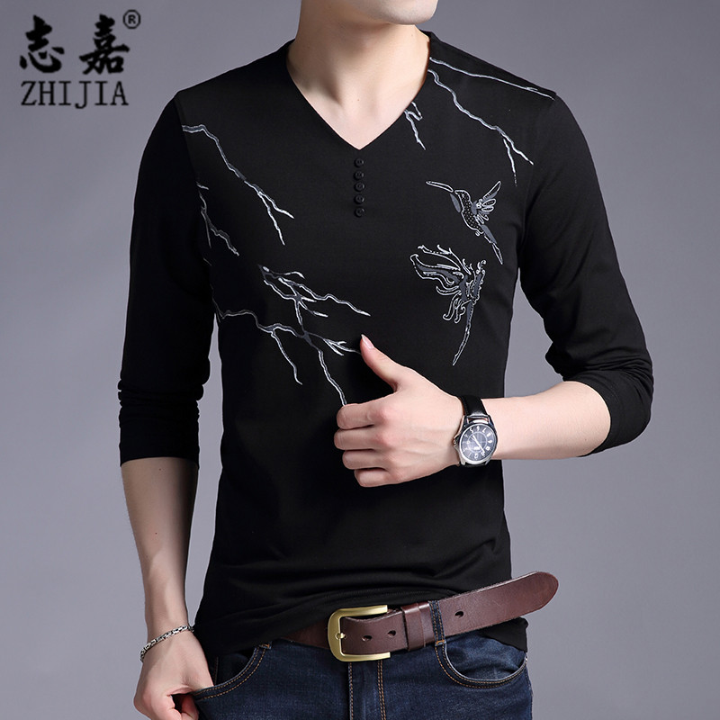 Zhijia printed long sleeve t-shirt mens V-neck youth Korean slim bottoming top cotton slim fit fall 2018 new top