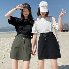 2020春夏新款韩版黑色牛仔裙高腰A字短裙休闲包臀裙女学生半身裙
