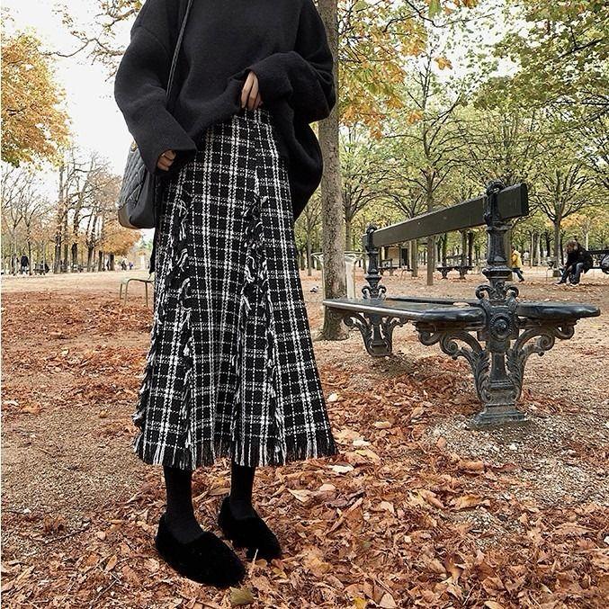 秋冬复古流苏半身裙复古格子毛呢半身裙女新款小香风高腰A字中长