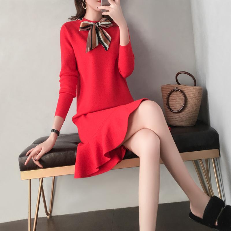 红色针织连衣裙2019新款女装秋冬季打底宽松中长款内搭鱼尾毛衣裙