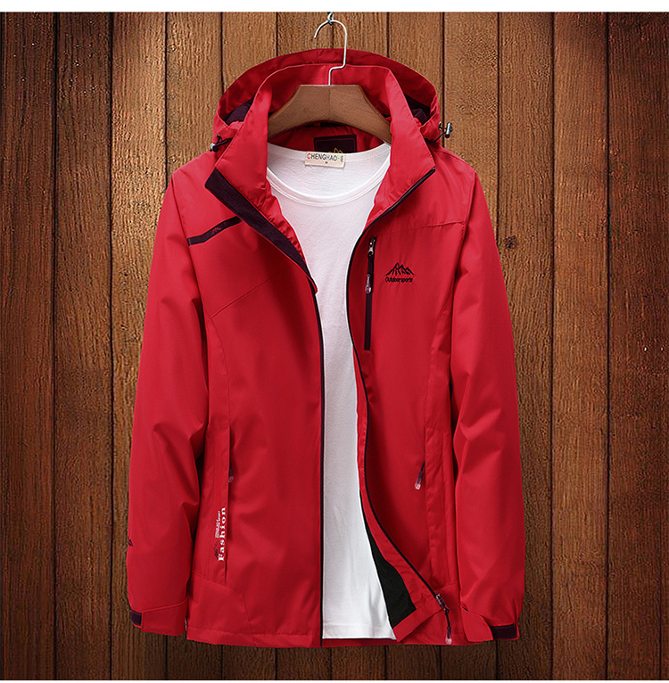 Custom stormsuit mens and womens spring and autumn thin single layer red sports windbreaker breathable activity clothing embroidery printing