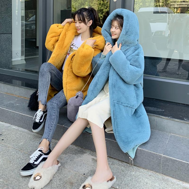 Winter Plush coat womens 2020 Rex Rabbit Fur grass thickened cotton coat long hooded large size fur coat