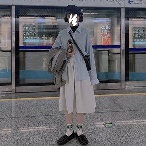 日系工装裙女高腰半身秋季新款中长款小个子百搭a字白色伞裙套装