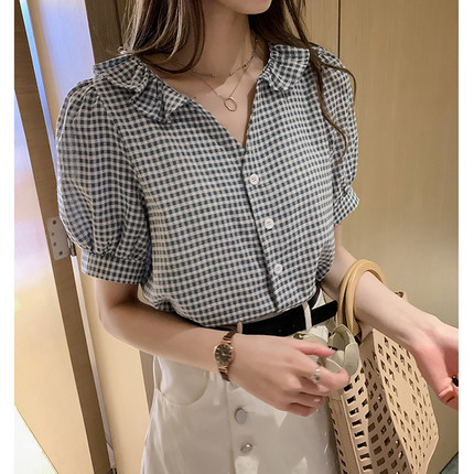 2020 summer new Korean version small fresh Plaid loose show thin and foreign style with ruffle V-neck short sleeve shirt