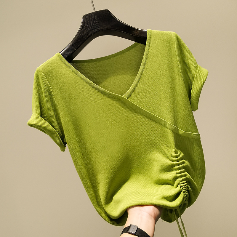 Thin slim fit V-neck ice silk knitted short sleeve T-shirt for women in Europe and the United States