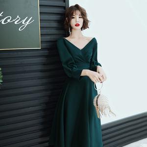 礼服裙女宴会气质2019新款高贵晚装V领墨绿色小个子年会平时可穿