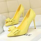 婚鞋 甜美高跟鞋 韩版 细跟大码 红色显瘦浅口尖头糖果色蝴蝶结女单鞋