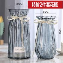 二件套欧式玻璃花瓶透明彩色水培植物花瓶客厅装饰摆件插花瓶