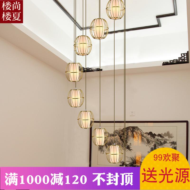 现代新中式长吊灯茶室茶庄餐厅简约铁艺鸟笼吊灯别墅复式楼梯吊灯