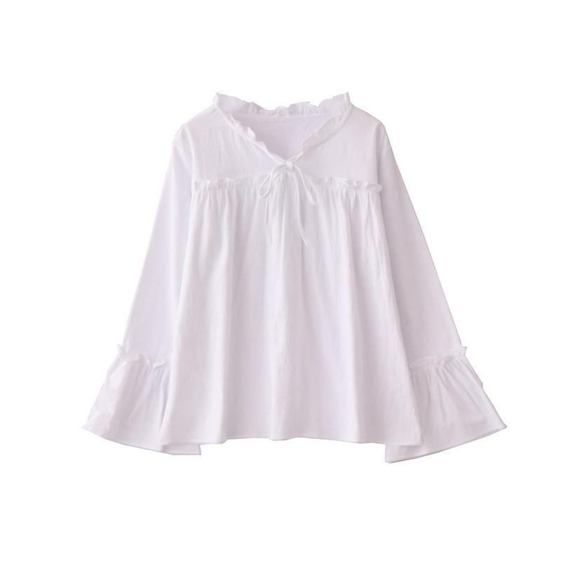 自制~2018秋季新款甜美复古衬衣喇叭袖木耳边宽松白色衬衫女上衣