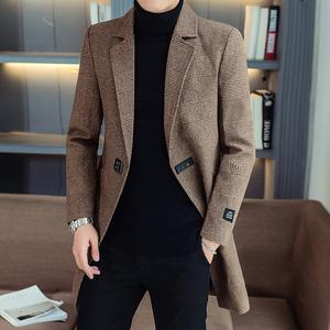 男士外套秋冬2019新款韩版加棉加厚中长款西服男装毛呢子大衣风衣