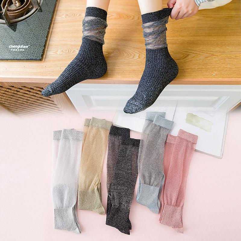 堆堆袜女中筒袜薄款韩国学院风夏季百搭玻璃银丝长筒袜女ins潮袜