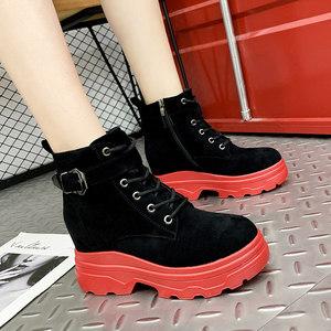 秋季靴子小个子2019新款拉链短靴毛绒里圆头马丁靴松糕底秋冬靴