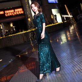 晚礼服女2020新款长款气质亮片绿色宴会高贵主持人高端年会连衣裙