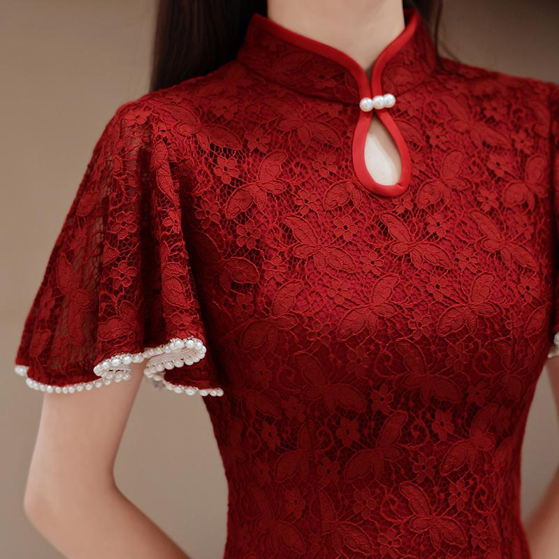 旗袍敬酒服新娘2021新款夏季平时可穿结婚订婚回门礼服女蕾丝修身