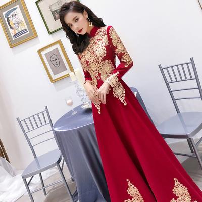 敬酒服新娘酒红色秋冬季结婚回门便装订婚礼服女平时可穿长袖加厚