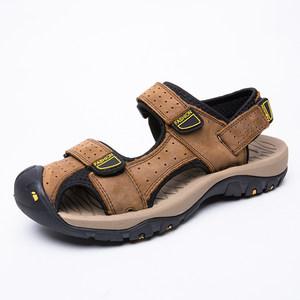 夏季男鞋凉鞋包头魔术贴套脚真皮磨砂牛皮面户外沙滩鞋防滑溯溪鞋