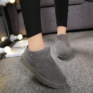 2019韩版懒雪地靴女靴子加绒低帮短靴一脚蹬学生棉鞋休闲面包鞋潮