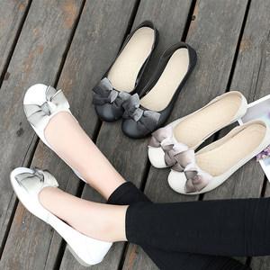 皮鞋女2021新款夏季浅口平底鞋单鞋真皮秋款脚胖宽大码女鞋41-43