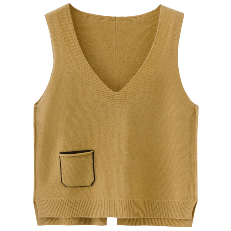 Sheppath cashmere vest womens autumn and winter V-neck and waistband wear loose vest solid cashmere knitting sleeveless sweater