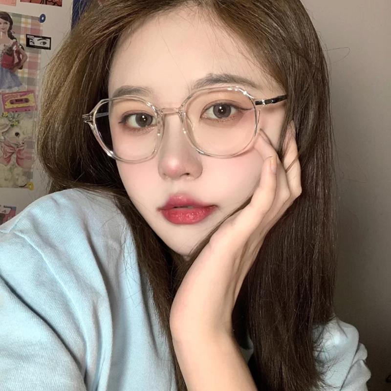 成品近视眼镜女有度数韩版潮网红素颜大框防蓝光透明眼镜框ins风