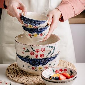 日式饭碗家用吃饭碗餐具套装碗盘创意碗碟个性盘子汤碗陶瓷碗盘子