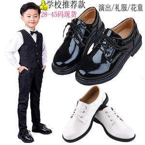 儿童系带亮黑色学生演出鞋软底皮鞋