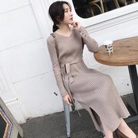 秋冬季过膝针织连衣裙女复古毛衣裙很仙的法国小众配大衣的长裙子