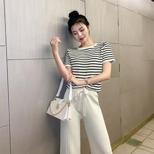 奥朵芬【两件套】冰丝针织套装减龄针织衫阔腿裤两件套
