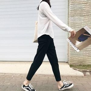 萝卜裤女春季小脚哈伦裤胖mm休闲宽松奶奶裤大码九分显瘦西装裤子