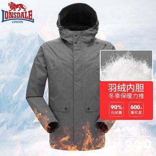 户外羽绒可拆卸加厚保暖两件套132419310 龙狮戴尔冲锋衣男潮冬季
